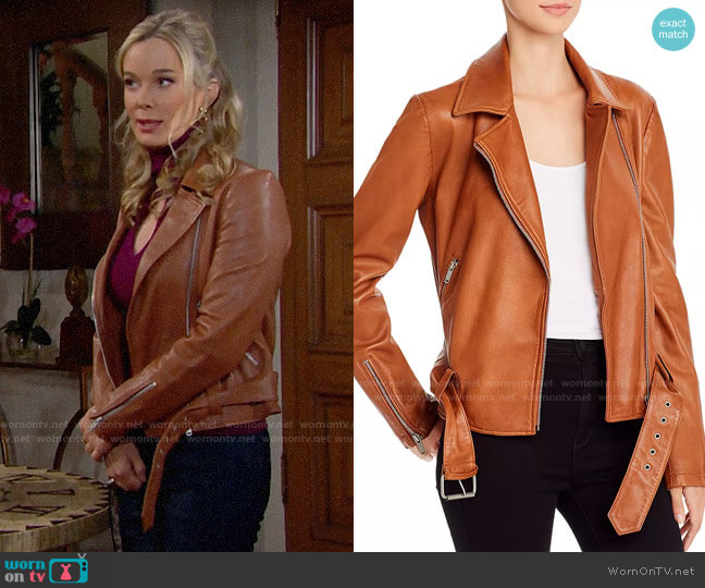 Aqua Leather Moto Jacket worn by Donna Logan (Jennifer Gareis) on The Bold & the Beautiful
