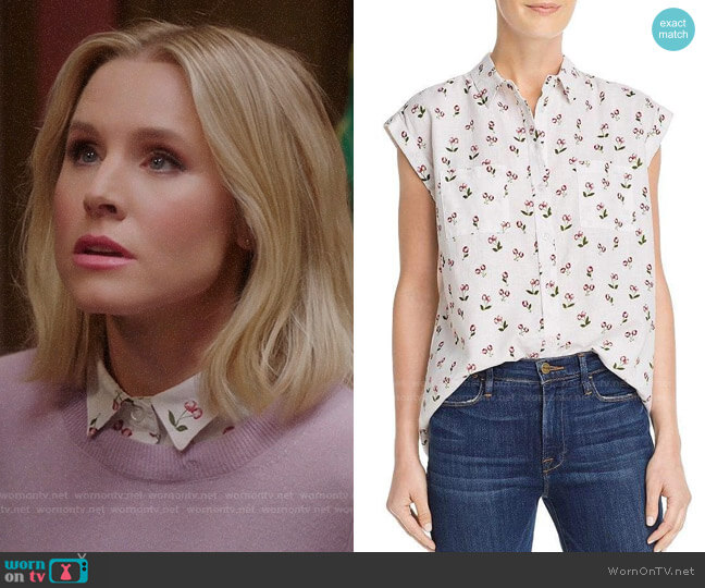 Aqua Cherry Print Shirt  worn by Eleanor Shellstrop (Kristen Bell) on The Good Place
