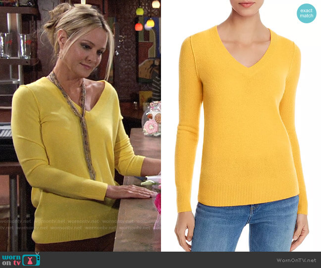 Aqua V-Neck Cashmere Sweater worn by Sharon Collins (Sharon Case) on The Young & the Restless