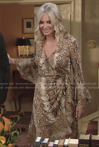 Ashley's snake print ruffled wrap dress on The Young and the Restless