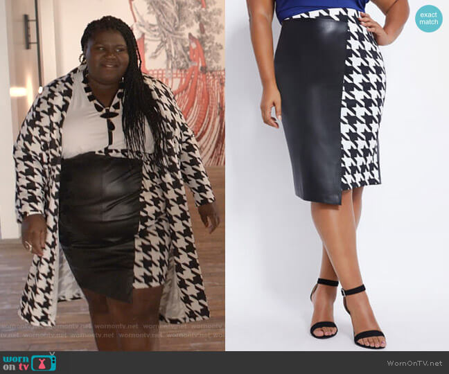 Faux Leather & Houndstooth Skirt by Ashley Stewart worn by Becky (Gabourey Sidibe) on Empire