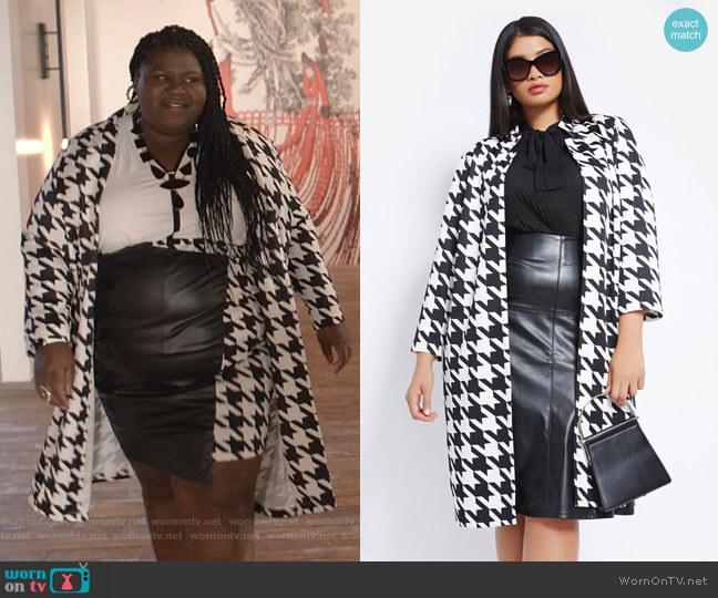 Houndstooth Longline Jacket by Ashley Stewart worn by Becky (Gabourey Sidibe) on Empire