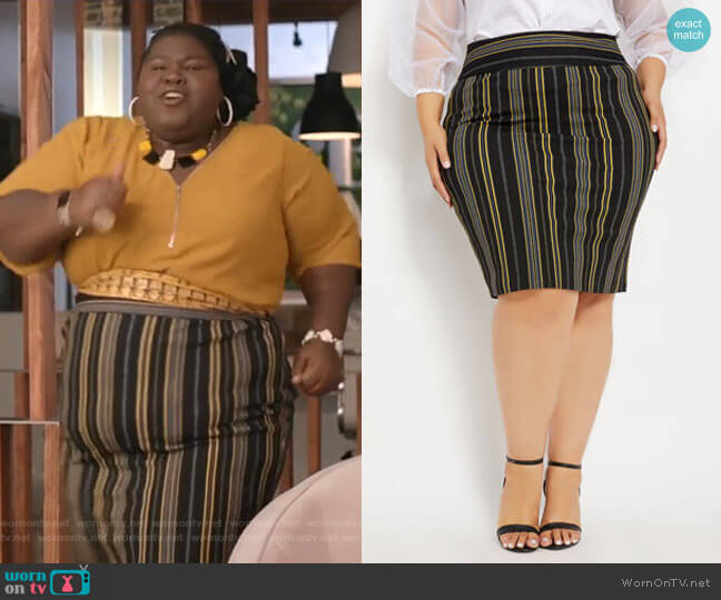 Stripe Crepe Pull-On Skirt by Ashley Stewart worn by Becky (Gabourey Sidibe) on Empire