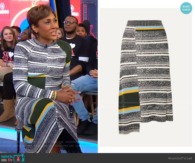 Asymmetric striped Ribbed Midi Skirt by Victoria Beckham worn by Robin Roberts  on Good Morning America