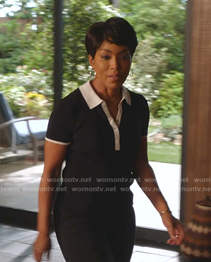 Athena's black polo top with white trim on 9-1-1