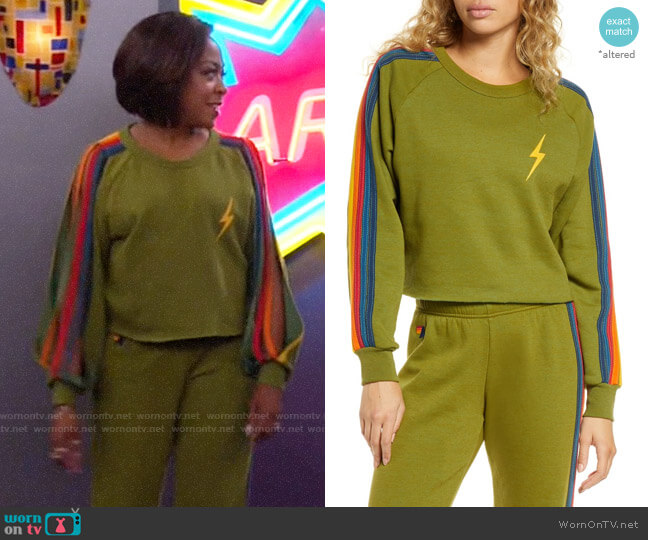 Aviator Nation Bolt Crop Sweatshirt worn by Tina (Tichina Arnold) on The Neighborhood