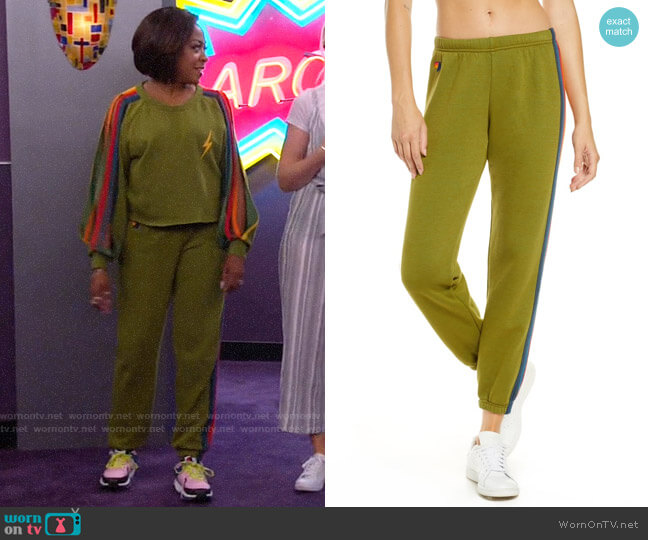 Aviator Nation Stripe Sweatpants worn by Tina (Tichina Arnold) on The Neighborhood