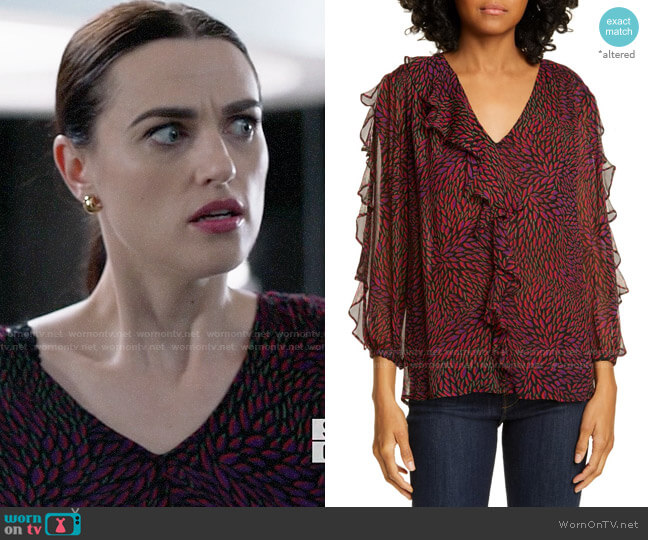 ba&sh Genny Printed Top worn by Lena Luthor (Katie McGrath) on Supergirl