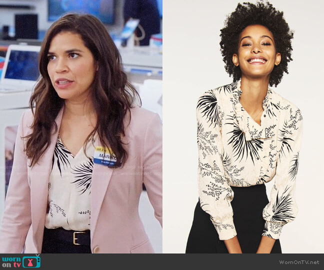 ba&sh Poudre Print Blouse worn by Amy (America Ferrera) on Superstore