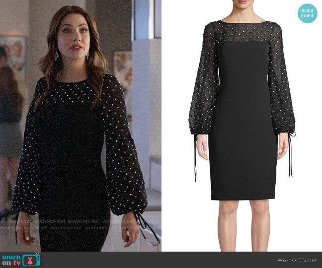Badgley Mischka Crystal-Trim Balloon-Sleeve Sheath Cocktail Dress worn by Andrea Rojas (Julie Gonzalo) on Supergirl