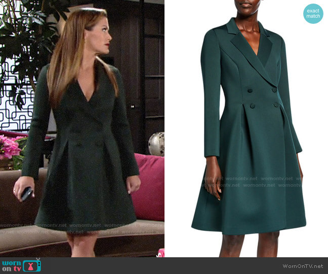 Badgley Mischka Double-Breasted Scuba Dress worn by Chelsea Lawson (Melissa Claire Egan) on The Young & the Restless