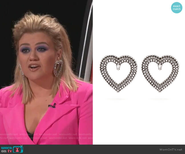 Crystal-Embellished Heart Earrings by Balenciaga worn by Kelly Clarkson  on The Voice