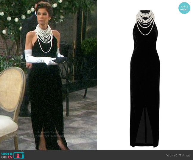Balmain Embellished velvet halterneck gown worn by Hope Williams (Kristian Alfonso) on Days of our Lives