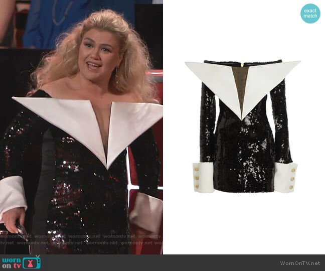 Off-The-Shoulder Sequin Satin Dress by Balmain worn by Kelly Clarkson  on The Voice