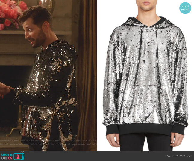 Sequin Hoodie by Balmain worn by Sam Flores (Rafael de la Fuente) on Dynasty