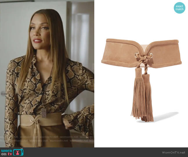 Tasseled Suede Waist Belt by Balmain worn by Dominique Deveraux (Michael Michele) on Dynasty