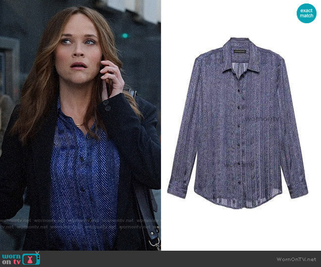 Banana Republic Dillon Herringbone Shirt worn by Bradley Jackson (Reese Witherspoon) on The Morning Show