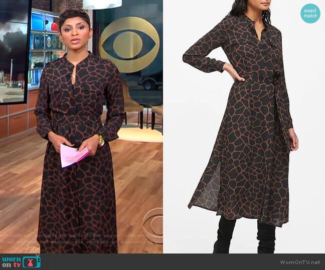 Print Midi Shirt Dress by Banana Republic worn by Jericka Duncan  on CBS This Morning
