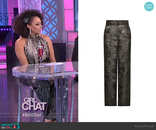 Metallic High Waist Pant by Bcbgmaxazria worn by Tamera Mowry  on The Real