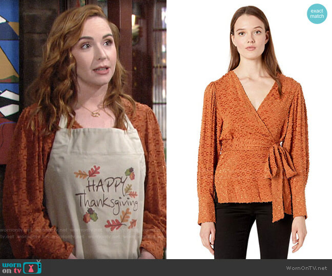 Bcbgmaxazria Pleated Shoulder Wrap Top worn by Mariah Copeland (Camryn Grimes) on The Young & the Restless