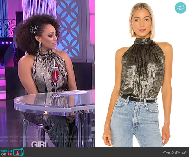 Halter Sleeveless Woven Top by Bcbgmaxazria worn by Tamera Mowry  on The Real