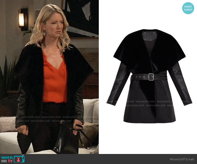 Bcbgmaxazria Draped Leather Jacket worn by Nina Reeves (Cynthia Watros) on General Hospital