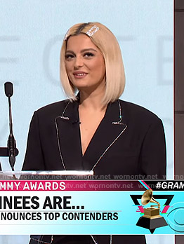 Bebe Rexha's black rhinestone-trim oversized blazer on CBS This Morning
