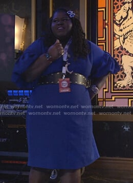 Becky's blue puff sleeve dress on Empire