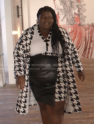 Becky's houndstooth leather skirt and jacket on Empire