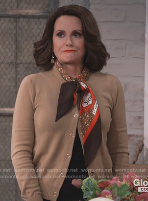 Karen's beige scarf tie cardigan on Will and Grace