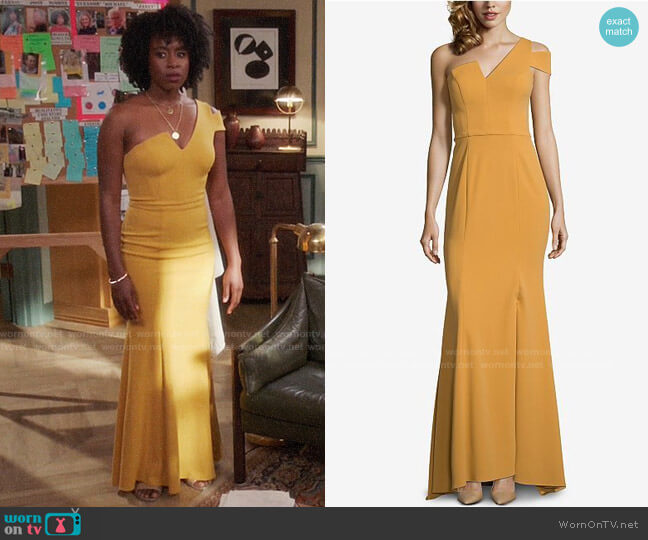 Betsy & Adam One-Shoulder A-Line Gown worn by Simone Garnett (Kirby Howell-Baptiste) on The Good Place
