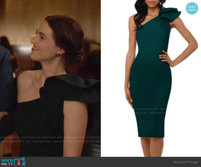 Betsy & Adam Ruffled One-Shoulder Sheath Dress worn by Lena Luthor (Katie McGrath) on Supergirl