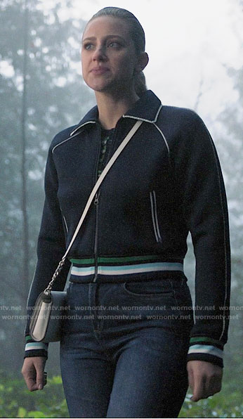 Betty's navy track jacket with white trim on Riverdale