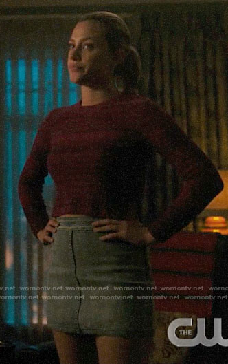 Betty's pink striped sweater and denim skirt on Riverdale