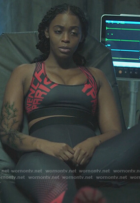 Anissa's Givenchy sports bra and leggings on Black Lightning