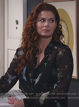 Grace's black bird print blouse on Will and Grace
