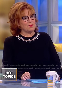 Joy's black pearl embellished sweater on The View