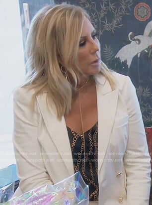 Vicki's chain print cami and white blazer on The Real Housewives of Orange County