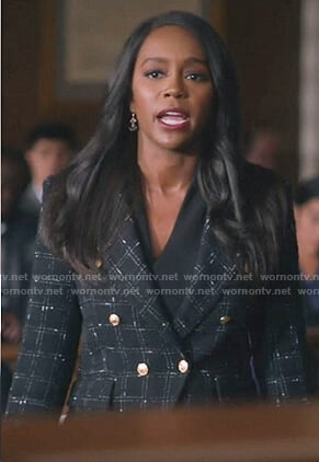 Michaela's black check double breasted blazer on How to Get Away with Murder