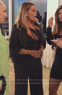 Dolores's black cutout jumpsuit on The Real Housewives of New Jersey