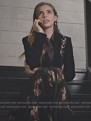 Stevie's embroidered blazer and floral skirt on Madam Secretary