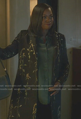 Annalise's black floral embroidered coat on How to Get Away with Murder