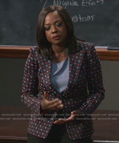 Annalise's black geometric print blazer on How to Get Away with Murder