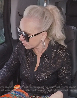 Margaret black square Gucci sunglasses on The Real Housewives of New Jersey