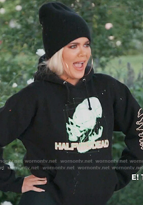 black skull print hoodie on Keeping Up with the Kardashians