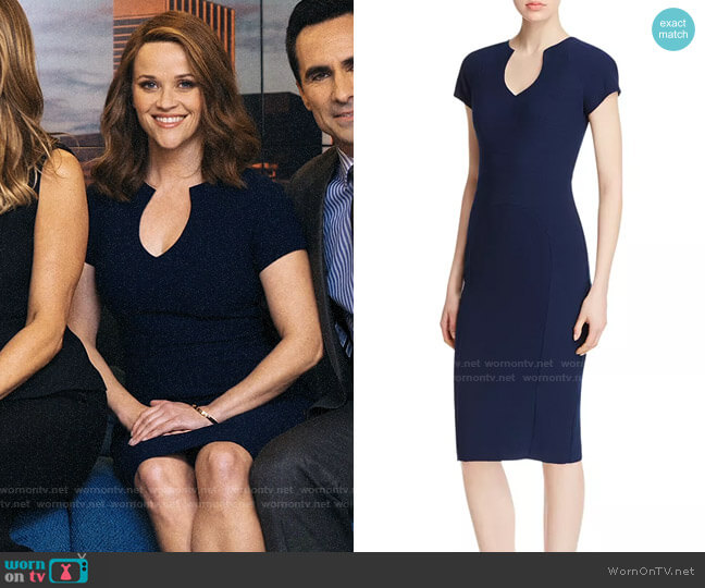 Black Halo Gypsy Rose Sheath Dress worn by Bradley Jackson (Reese Witherspoon) on The Morning Show