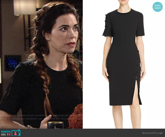 Black Halo Joanna Dress worn by Victoria Newman (Amelia Heinle) on The Young & the Restless