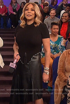 Wendy's black asymmetric skirt on The Wendy Williams Show