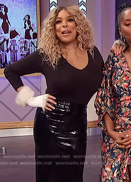Wendy's black leather skirt on The Wendy Williams Show