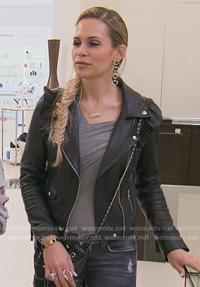 Jackie's leather moto jacket and gray bodysuit on The Real Housewives of New Jersey